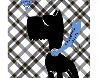 Wi-Fi Password - Wifi Sign - Printable - Digital Art - Scottie Dog - home wifi
