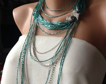 Wedding Party, Bridal style, Brides Bridesmaids ,haute couture multistrand necklace