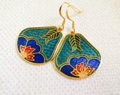 Lotus Cloisonné  Dangle Drop Earrings