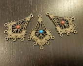 SALE !!! Antiqued Brass Chandelier Findings with Gemstone Cabochons ... 3 ct.