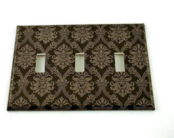Triple Switch Plate Wall Decor Decorative Switchplate  in  Black and Gray Damask (214T)