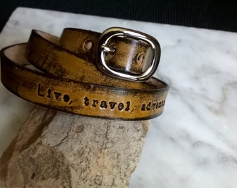 Personalized - Triple Wrap - Leather Wristband 3/8 inches wide