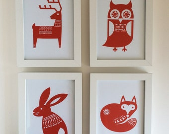 Woodland Nursery Art Prints – Set of 4 prints – reindeer, fox, owl, and rabbit