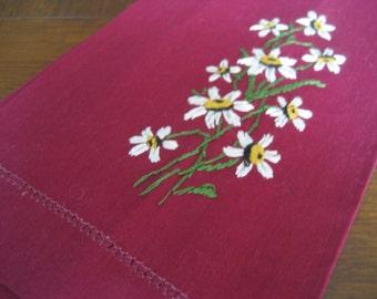 VINTAGE Embroidered Flower Burgundy Linen Finger Tip Hand Towel