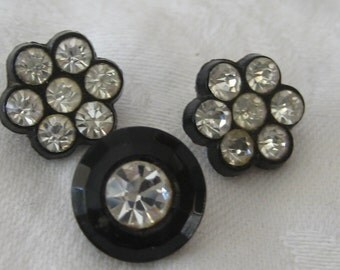Lot of 3 VINTAGE Small Rhinestone in Black Glass BUTTONS
