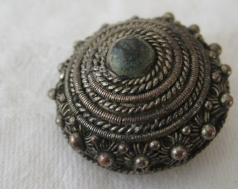 VINTAGE Silver Wire Dome BUTTON