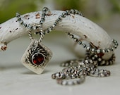 AAA Garnet Pendant Oxidized Sterling Silver red Gemstone Necklace
