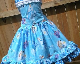 Made to Order Custom Boutique Disney Blue Cinderella Dress Girl size 2 3 4 5 6 7 8
