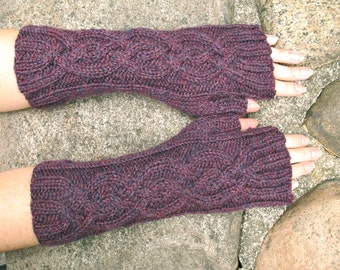 Heather Cables | Cable Knit Fingerless Gloves in Claret Wine Heather Peruvian Wool, Women's Mittens, Arm Warmers - Handmade- Ready to Ship