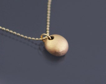 14k Gold Pebble Necklace, tiny simple gold nugget pendant