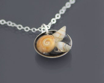 Oxidized Sterling Silver Seashell Necklace - Tiny Beach Shells - Tide Pool Pendant