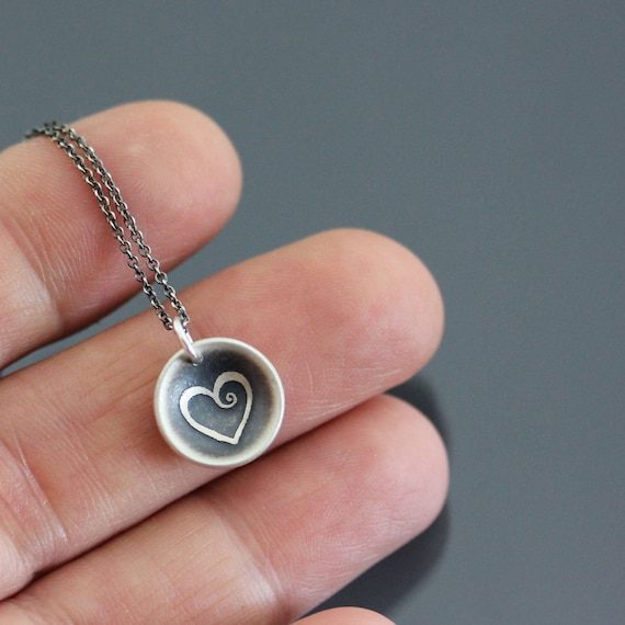 Etched Sterling Silver Heart Necklace - cupped heart pendant