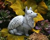 Dog Angel Statue - Corgi Angel Dog Memorial - Pembroke Welsh Corgi Concrete Pet Memorial