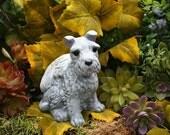 Schnauzer Dog Angel Statue - Dog Pet Memorial - Garden Decor - Solid Concrete