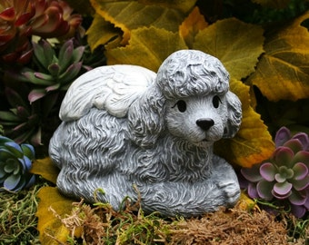 Poodle Dog Angel Statue - Miniature or Standard Poodle Concrete Pet Memorial Marker