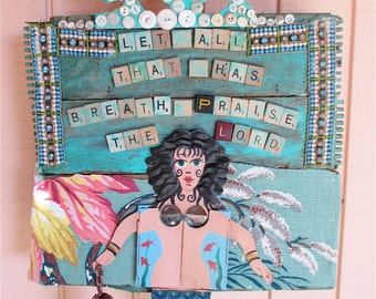 MERMAID FOLK ART Collage  Assemblage - Repurposed Junk Found Objects   --Vintage Buttons Crown -- Scrabble Anagram Letters