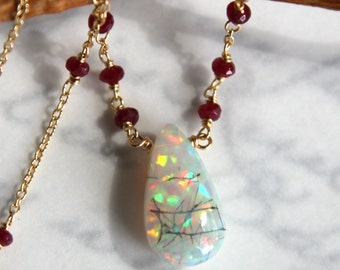 Ethiopian Opal Necklace with Rubies in 14K Solid Gold - Rare Collectors Opal with STUNNING FLASH
