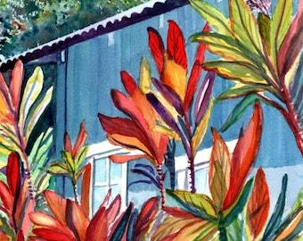 Plantation House Original Watercolor - Hanapepe Town 2 - Old Hawaiian Cottage - Hawaiian Ti Leaves - Tropical Cottage Art - Hawaii Art