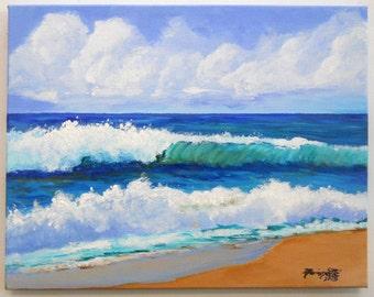 Original Acrylic Painting from Kauai Hawaii - Polihale Waves 4 - Kauai Big Surf - Hawaiian Beach Painting - Ocean Wave Art - Hawaiian Decor
