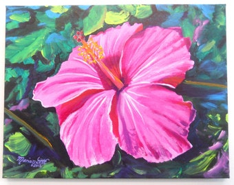 Pink Hibiscus Original Acrylic Painting from Kauai Hawaii, Tropical Flower Art, Hot Pink Hibiscus Hawaiian