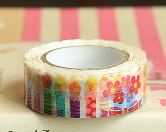 Japanese Kawaii Die-cut Washi Paper Masking Tape - Candle Bouquet 1.5cm x 10m