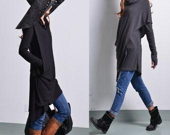 Solitude - asymmetrical knit tunic dress / thumbhole tunic / deconstructed boho tunic / hippie tunic dress / winter sweater dress(Y1535)