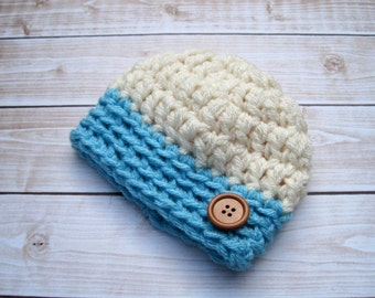 Baby Boy Hat, Baby Boy Beanie, Baby Boy Hospital Hat, Newborn Hats, Baby Boy Gift, Blue Baby Hat