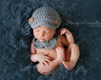 Crochet Baby Boy Hat, Baby Boy Bow Tie, Baby Hat and Bow Tie Set, Bowtie, Baby Newsboy Hat, Crochet Baby Hat, Newborn Hat, Infant Boy Hat