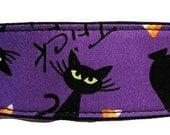 "Halloween Trick or Treat Purple 2"" Martingale Collar-"