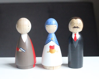 Wooden Peg Dolls // The Three Alchemists // Philosophy Philosopher Gift Fair Trade Educational Toys Office Gift