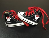 Personalized Infant and Kids Custom Mouse Ears With Bow High Top Converse Shoes