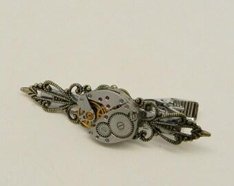 Steampunk tie tack. Steampunk tie clip. Steampunk tie pin.