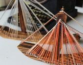VINTAGE STRING ART - two ships -sailboats -  handmade - 70s - orange, black, wood
