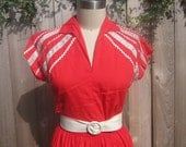 1950s Red Squaw Dress