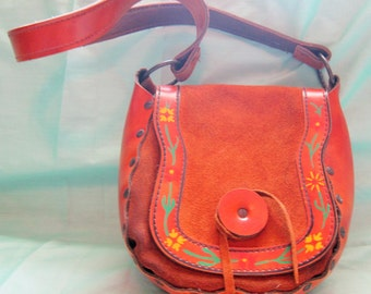 1970s Western Boho Floral Hand Painted  Purse