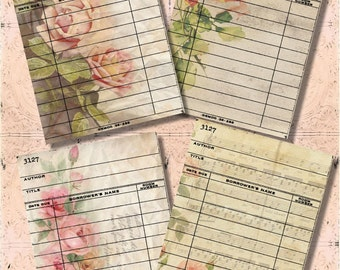 Set of 4 Vintage Shabby Victorian Rose Library Cards Digital Collage Sheet for Journaling, Crafts of Scrapbooking