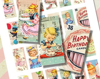 Vintage Retro Girl Pink Birthday Party Domino Tile Digital Sheet for Necklaces, Altered Art, Collage, Jewelry, Cake