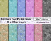 "Raccoons digital paper: 12 x 300dpi images.   ""Floer"" collection, for cards, scrapbook, art journal, dolls house, crafts, decoupage"