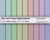 "Raccoons digital paper: 18 x 300dpi images.   ""Linear floral"", for cards, scrapbook, art journal, dolls house, crafts, decoupage"