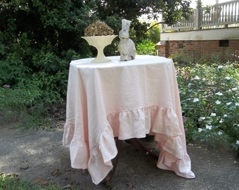 Pink Linen Tablecloth Pink Ruffled Tablecloth 70 x 70 READY to SHIP Custom Sizes Available Wedding Decorations Table Decor French Country