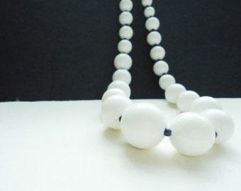 Vintage Big White and Tiny Dark Bead Necklace
