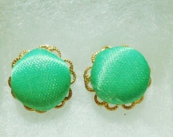 Sweet little Green Cloth Button Post Earrings with Lacey Gold Plated Rims