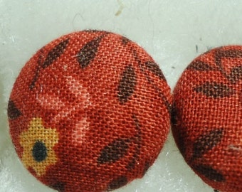Floral Print Red Fabric Post Earrings