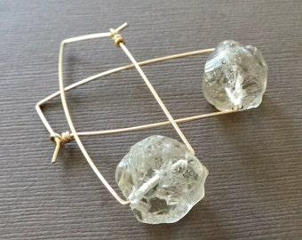 Rough Light Smoky Quartz Nugget Earrings Dangle Earring Modern Simple Earrings Rough Crystal Quartz Earrings