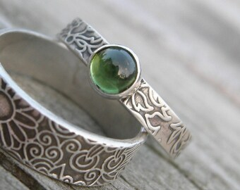 Green Tourmaline Silver Stacking Ring Rustic Sterling PMC Artisan Jewelry