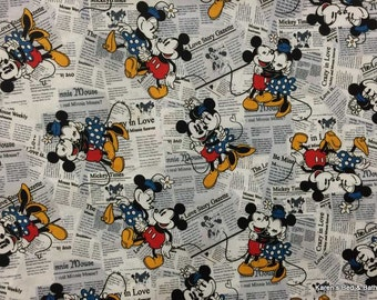 Curtain Valance Sewn From Disney Mickey & Minnie Mouse Newspaper News Print Fabric h2