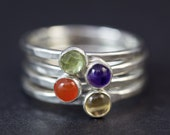 Sterling Silver Rings, Silver Rings, Stacking Rings, Stackable, Semi-Precious Stones, Women, Girls, Teenager, Dainty, Thin, Stack, Gemstones