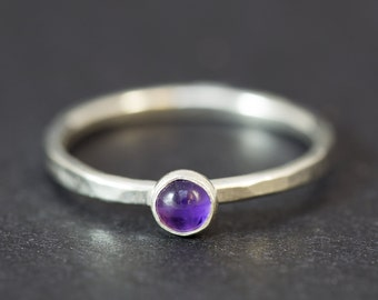 Stackable Ring, Sterling Silver Ring, Stacking Rings, Stacking Ring Silver, Amethyst Ring, Dainty Ring, Silver Rings Women, Stack Ring