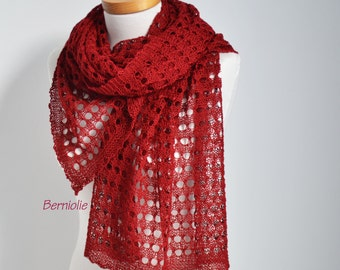 Lace knitted shawl, Red, N364