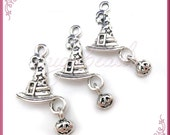 10 Silver Witch Hat with Pumpkin Charms - Wizard Hat Charms with Pumpkin 26mm PS158